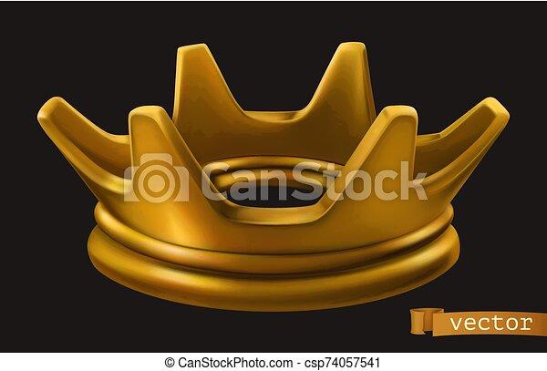 金, アイコン, ベクトル, 古い, crown., 3d - csp74057541