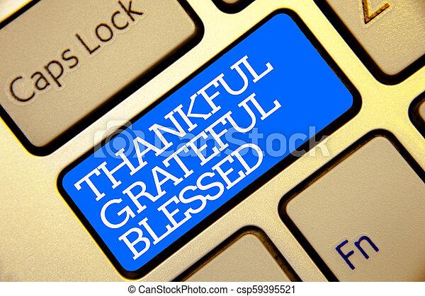 金, カラー写真, 感謝している, 態度, コンピュータ, texts., ありがたく思っている, キーボード, 感謝, ムード, 執筆, メモ, 書かれた, blessed., 白, 青, よい, ビジネス, 提示, 感謝, アウトライン, ボタン, showcasing - csp59395521