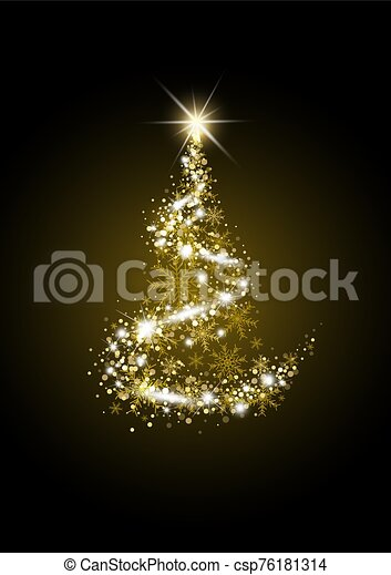 金, クリスマス, イラスト, 背景, 黒, ベクトル, 贅沢, 木 - csp76181314