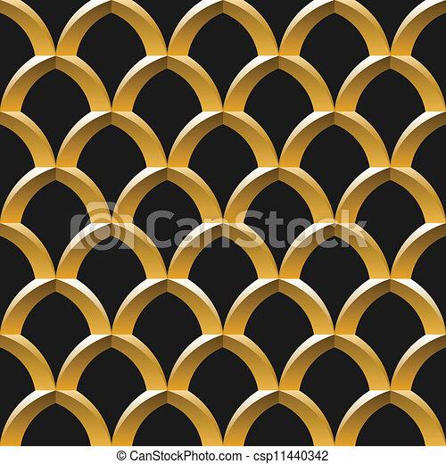 金, ケージ, seamless, パターン - csp11440342