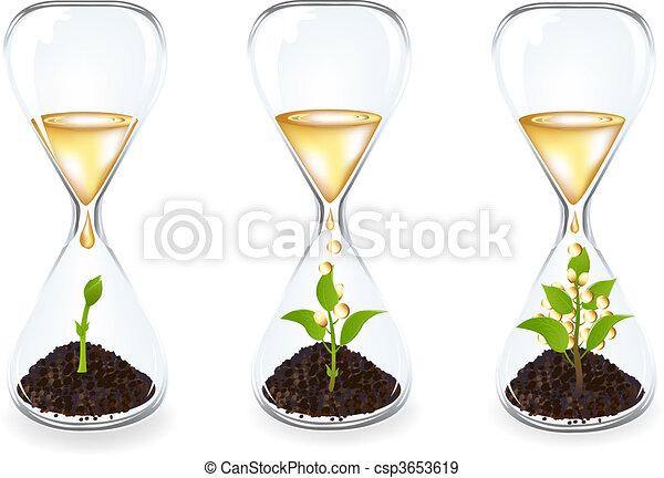 金, コイン, ガラス, clocks, 低下, 芽 - csp3653619