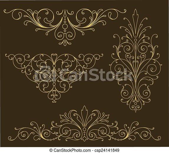 金, スクロール, 装飾 - csp24141849
