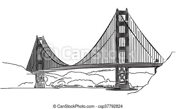 金, スケッチ, アウトライン, francisco, 門, 橋, san - csp37792824