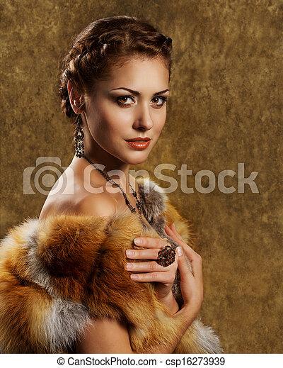 金, スタイル, 女, 毛皮, キツネ, コート, 贅沢, レトロ - csp16273939