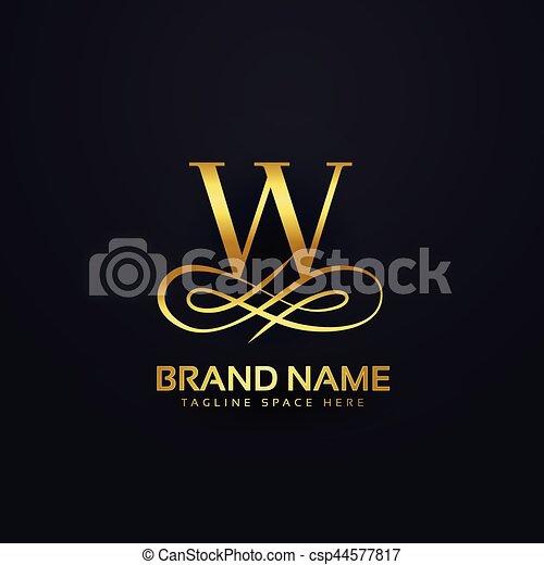 金, スタイル, 手紙, ブランド, デザイン, w, ロゴ - csp44577817