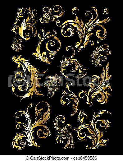 金, セット, 型, 装飾, 装飾, 要素, 花 - csp8450586
