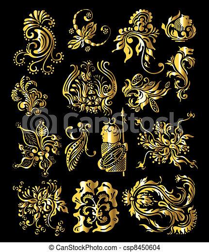 金, セット, 型, 装飾, 装飾, 要素, 花 - csp8450604