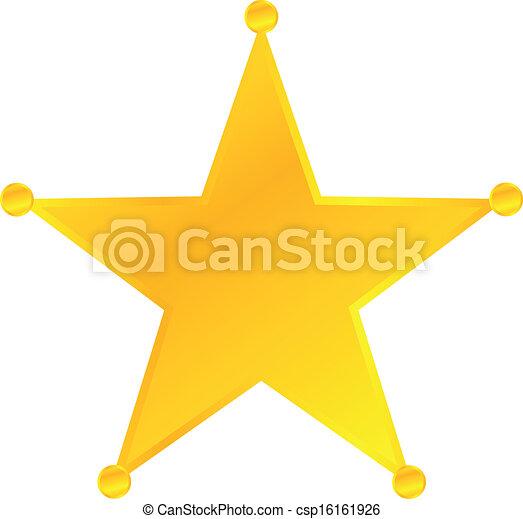 金, バッジ, 星, 保安官 - csp16161926