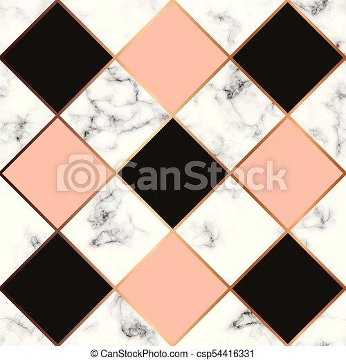 金, パターン, 現代, seamless, 大理石模様にすること, 贅沢, ライン, ベクトル, デザイン, 背景, 大理石, 黒, 白, 手ざわり, 幾何学的, 表面 - csp54416331