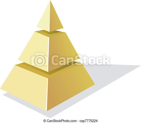 金, ピラミッド, イラスト, ベクトル, 背景, 白 - csp7775224