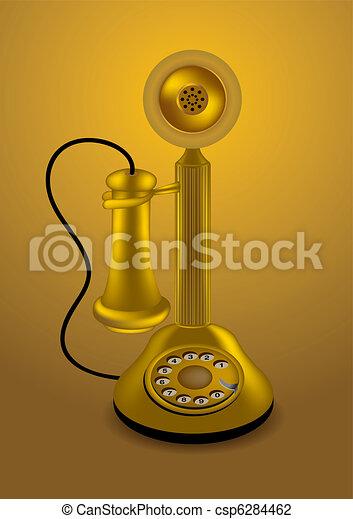 金, ベクトル, レトロ, 電話 - csp6284462