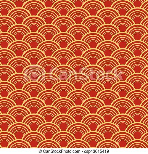 金, 中国語, 色, パターン, ornament., seamless, 赤 - csp43615419