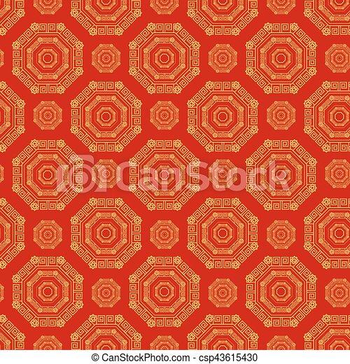 金, 中国語, 色, パターン, ornament., seamless, 赤 - csp43615430