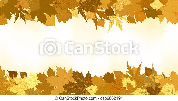 金, 作られた, leaves., eps, 秋, 8, ボーダー - csp6862191