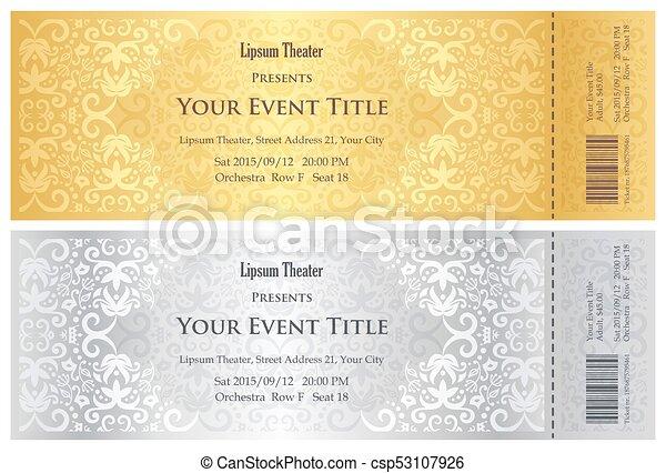 金, 劇場, パターン, 贅沢, 型, 切符, 銀 - csp53107926