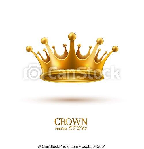 金, 現実的, 王冠, 3d, ベクトル - csp85045851