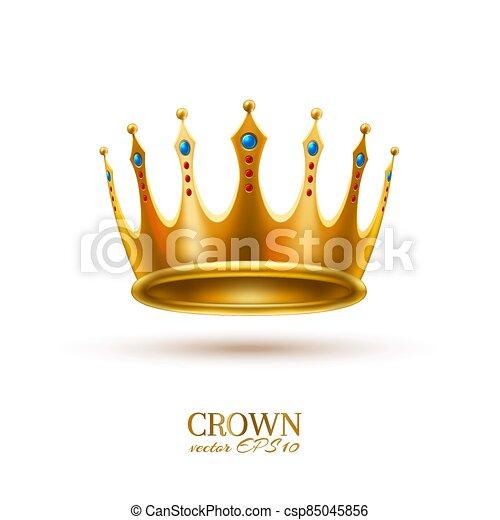 金, 現実的, 王冠, 3d, ベクトル - csp85045856