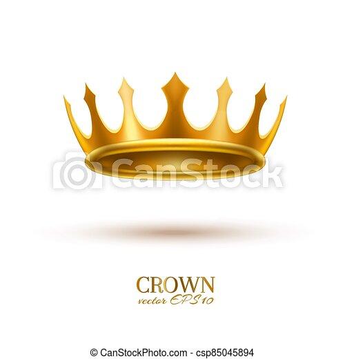 金, 現実的, 王冠, 3d, ベクトル - csp85045894