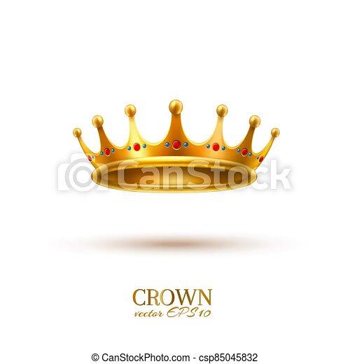 金, 現実的, 王冠, 3d, ベクトル - csp85045832