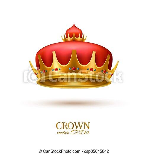 金, 現実的, 王冠, 3d, ベクトル - csp85045842