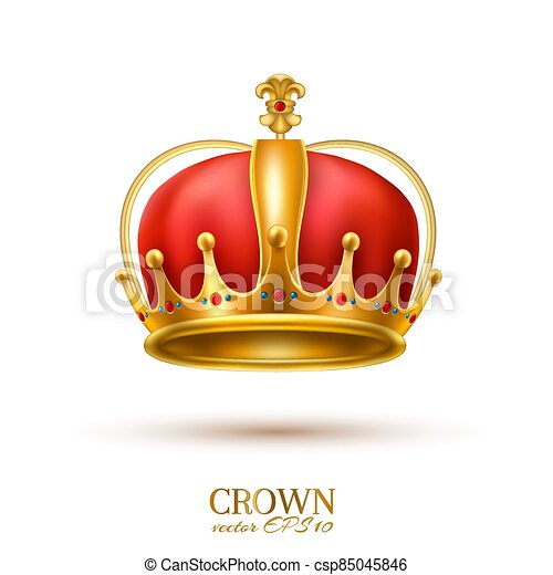 金, 現実的, 王冠, 3d, ベクトル - csp85045846