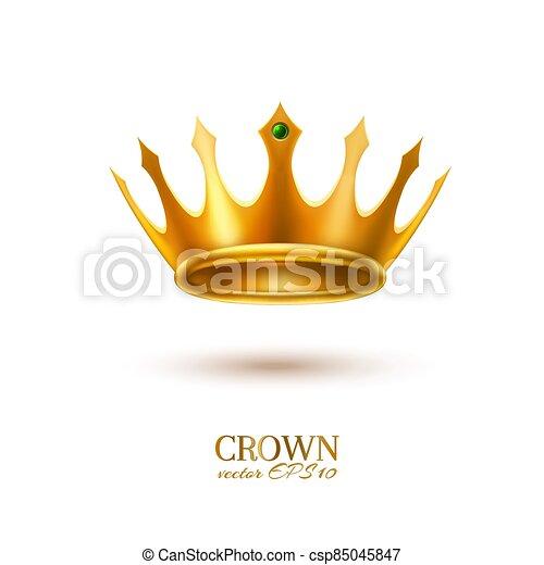 金, 現実的, 王冠, 3d, ベクトル - csp85045847