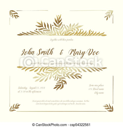 金, 結婚式, カード, テンプレート, 招待 - csp54322561