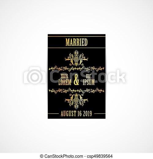 金, 結婚式, カード, 招待 - csp49839564