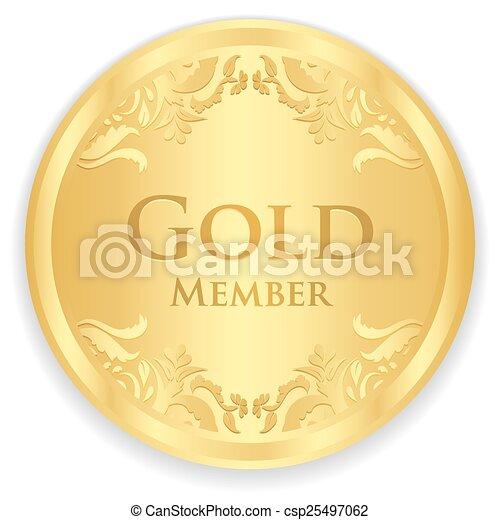 金, 金, パターン, メンバー, 型, バッジ - csp25497062