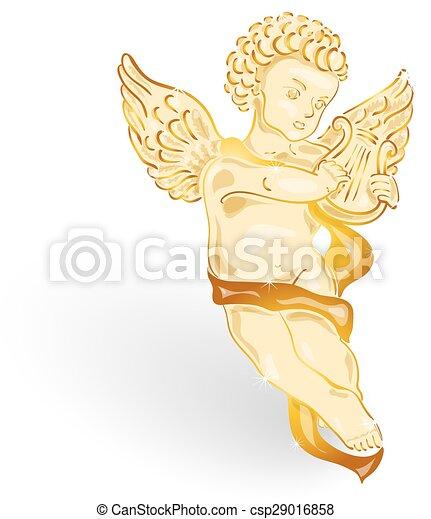 金, 音楽, 天使, リラ - csp29016858