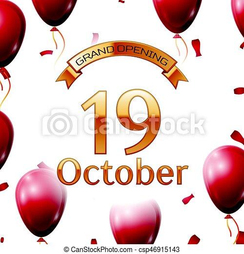 金 10 月 開始 壮大 イラスト 空気 碑文 ベクトル リボン 背景 Confetti 白 風船 19番目 赤