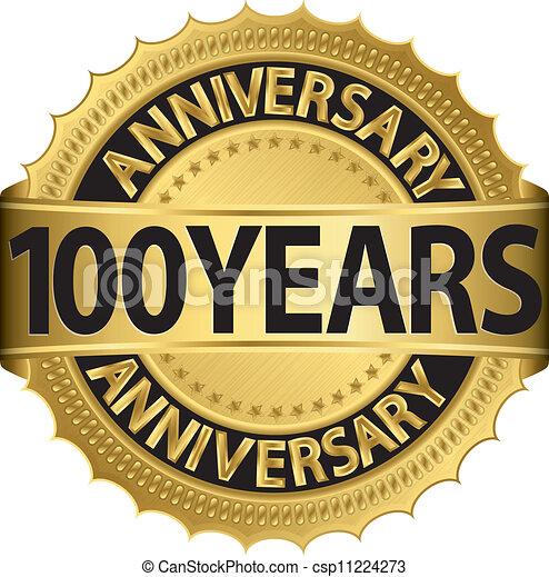 金, 100, 年, 記念日, ラベル - csp11224273
