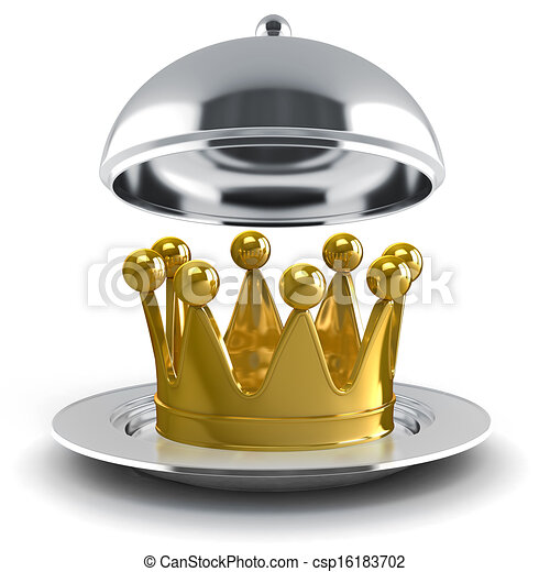 金, 3d, 王冠, 銀 版 - csp16183702