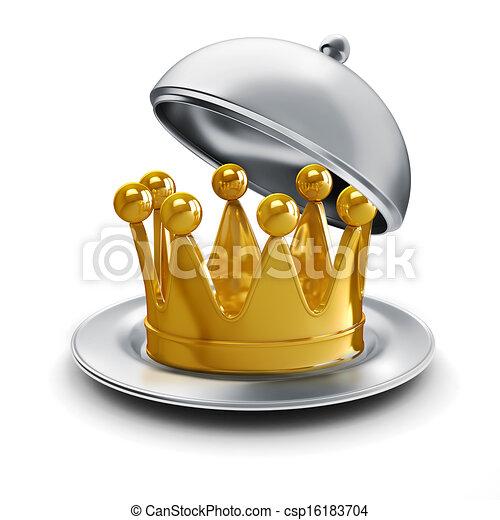 金, 3d, 王冠, 銀 版 - csp16183704