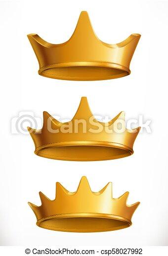 金, emblem., 王冠, ベクトル, 3d, アイコン - csp58027992