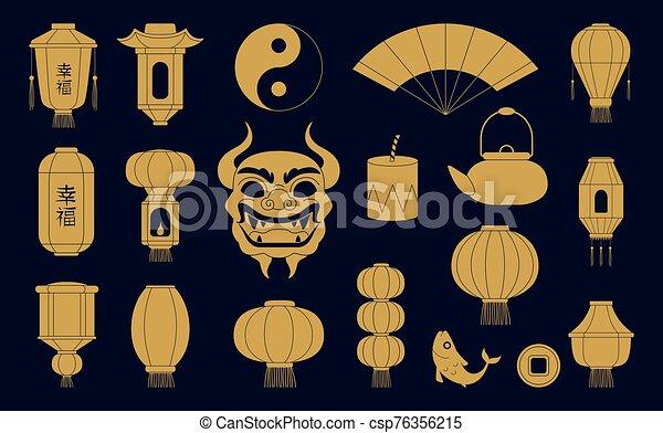 金, fish, ベクトル, silhouettes., 陶磁器, シンボル, 中国のドラゴン, マスク, 伝統的である, イラスト, ペーパー, お祝い, コイン。, ランタン, アジア人 - csp76356215