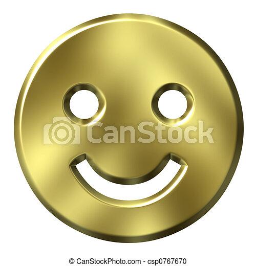 金, smiley, 3d - csp0767670