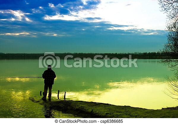 釣魚, 湖 - csp6386685