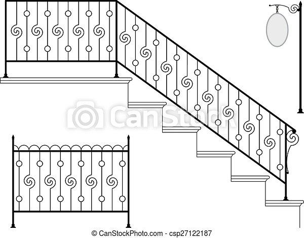 鉄, デザイン, 細工された, 階段手すり - csp27122187
