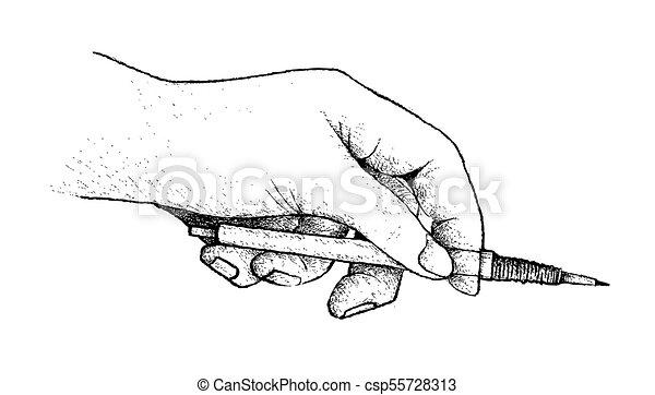 鉛筆図画, 準備, 手を持つ - csp55728313