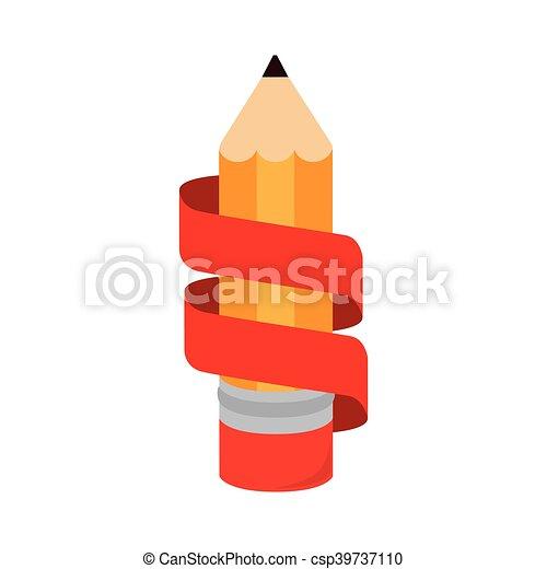 鉛筆, アイコン, 隔離された, リボン, 執筆 - csp39737110