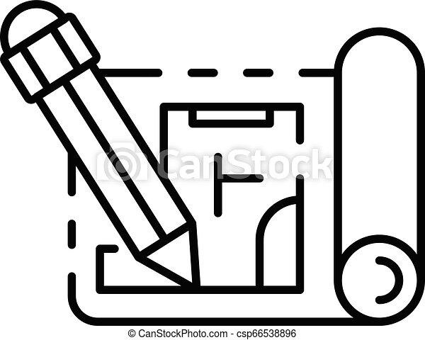鉛筆, スタイル, アウトライン, 執筆, ペーパー, 計画, アイコン - csp66538896