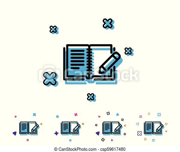 鉛筆, フィードバック, 印。, 本, 線, icon. - csp59617480