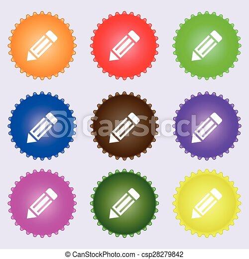 鉛筆, 不同, 集合, 上色, 徵候。, labels., 矢量, 九, 圖象 - csp28279842
