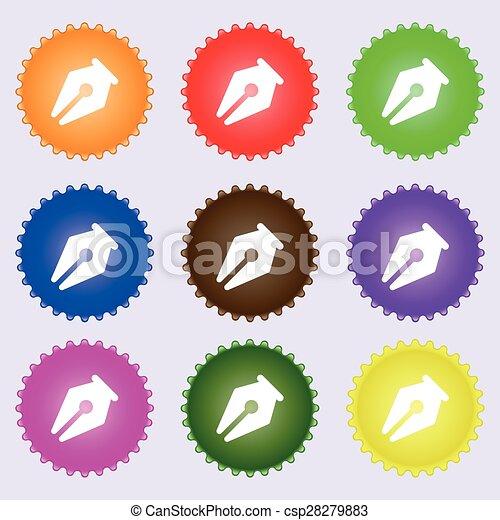 鉛筆, 不同, 集合, 上色, 徵候。, labels., 矢量, 九, 圖象 - csp28279883