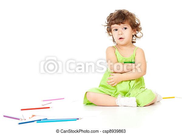 鉛筆, 女の子 - csp8939863