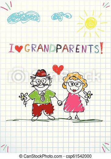 鉛筆, 子供, 挨拶, 一緒に, 手, おじいさん, 祖母, 引かれる, カード - csp61542000