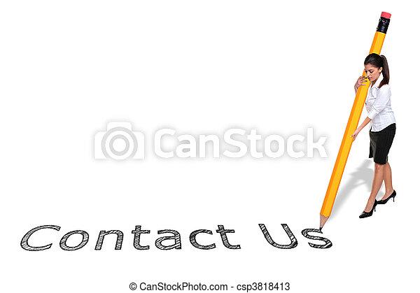 鉛筆, 巨人, 女性実業家, 私達, 執筆, 連絡 - csp3818413