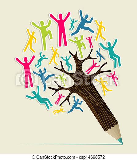 鉛筆, 概念, 多様性, 木, 人々 - csp14698572