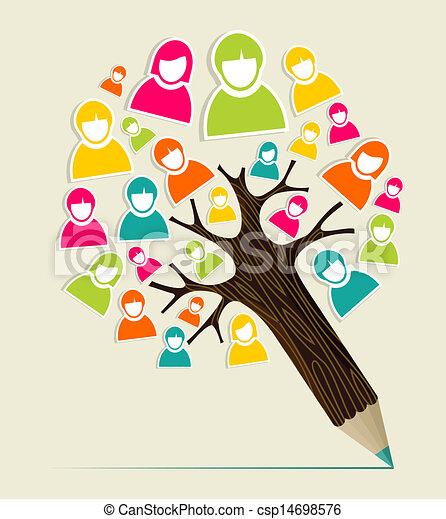 鉛筆, 概念, 多様性, 木, 人々 - csp14698576